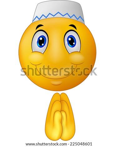 Greeting Muslim emoticon - stock vector