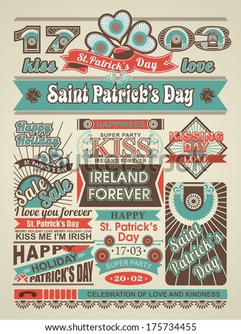 greeting page of a newspaper with St. Patricks Day - stock vector