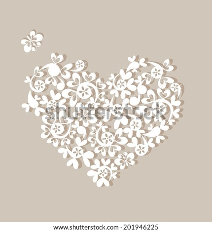 Greeting pastel card with beautiful paper heart - stock vector