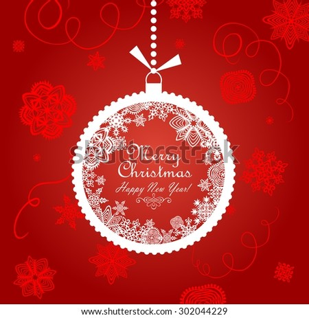 Greeting red card with xmas ball - stock vector