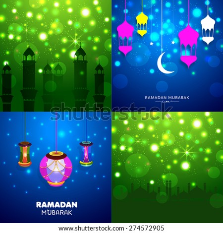 greeting set for ramadan kareem. - stock vector