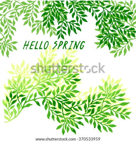 Greeting spring card with twigs and green leaves.  - stock vector