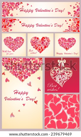 Greeting templates for Valentines day - stock vector