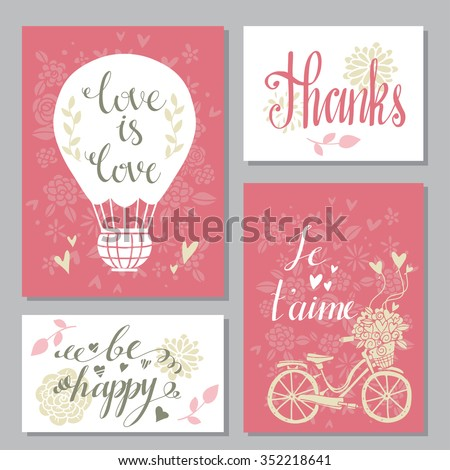 Greeting valentines day cards set. Wedding invitation design with hand drawn text - stock vector