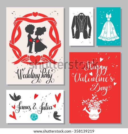 Greeting valentines day, love cards set. Wedding invitation design with hand drawn text