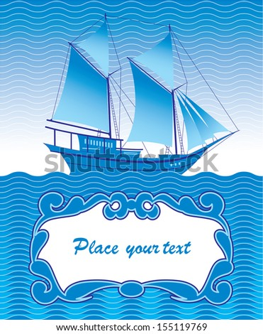 greeting with a ship - stock vector