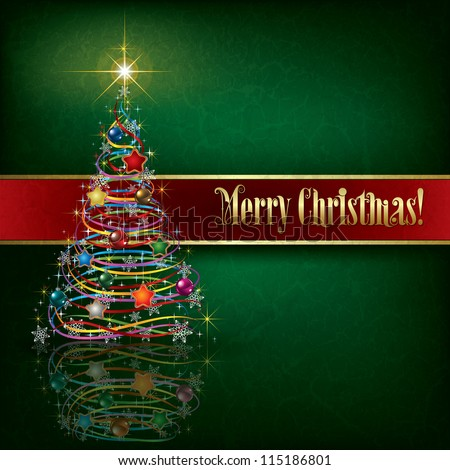 greeting with Christmas tree on green grunge background - stock vector