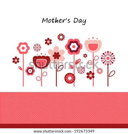 Greeting with flowers for Mother's Day isolated on white  - stock vector