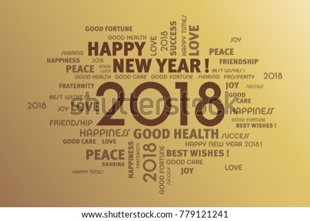 Greeting Words Around New Year Date Stock Vector 779121241 ...