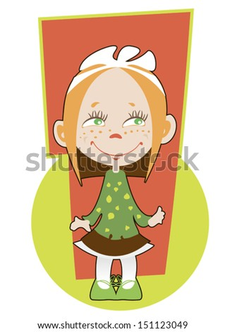 Greetings card for one year old girl - stock vector