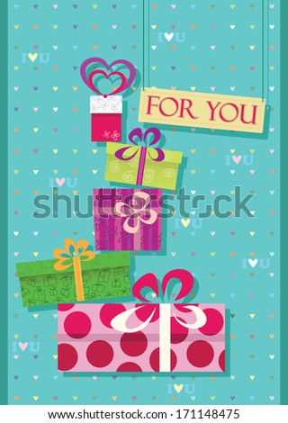greetings card for shopping lovers. Stack of gifts and purchases. - stock vector