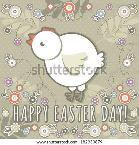 greetings card with easter eggs and one chicken, vector - stock vector