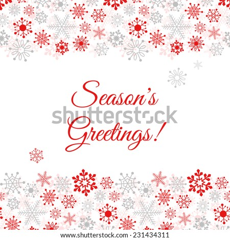 Greetings card with snowflakes. Vector Illustration - stock vector