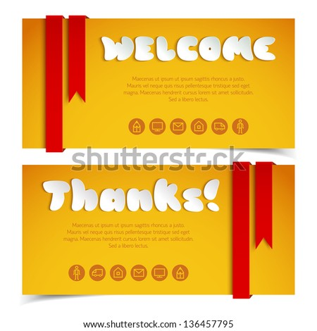 Greetings cards in paper style. Vector Illustration, eps10, contains transparencies. - stock vector