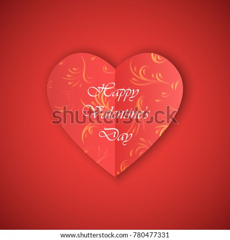 greetings cards with inscription happy valentines day vector illustration of design elements paper cut