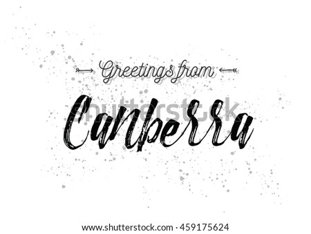 Greetings canberra australia greeting card typography stock vector greetings from canberra australia greeting card with typography lettering design hand drawn m4hsunfo