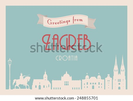 Greetings from Zagreb postcard. Retro style. Vector illustration. - stock vector