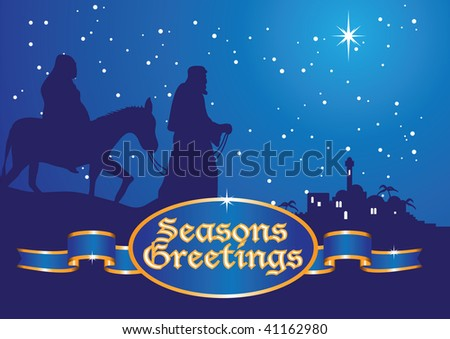 greetings mary and joseph - stock vector