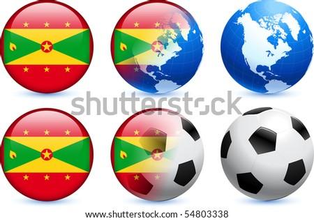 Grenada Flag Button with Global Soccer Event Original Illustration - stock vector