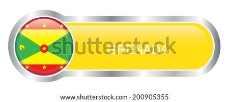 Grenada Flag glossy banner - stock vector