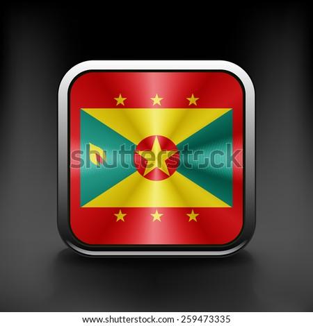 Grenada icon flag national travel icon country symbol button. - stock vector