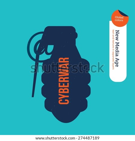 Grenade with an at symbol. Vector illustration Eps10 file. Global colors. Text and Texture in separate layers. - stock vector