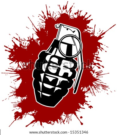 Grenade with splattered blood