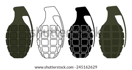 Grenades set. Color, contour, silhouette, no outline. Vector clip art illustrations isolated on white  - stock vector