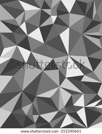 Grey Abstract Triangles - Geometric Background, Polygonal design. Vector illustration, fully editable - stock vector