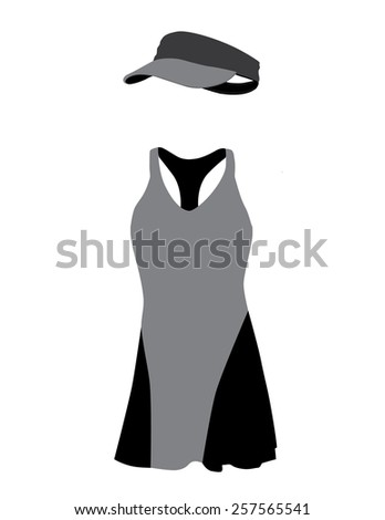 Grey and black tennis dress with hat, cap, sportswear, sport clothing, tennis clothing - stock vector
