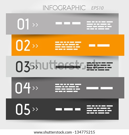 grey and orange zig zag five options. infographic concept. - stock vector