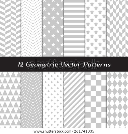 Grey and White Geometric Patterns. Backgrounds in Diamond, Chevron, Polka Dot, Checks, Stars, Triangles, Herringbone & Stripes Patterns. Vector EPS File Pattern Swatches with Global Colors. - stock vector