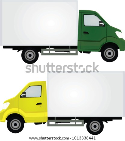 Grey and yellow delivery truck. vector illustration
