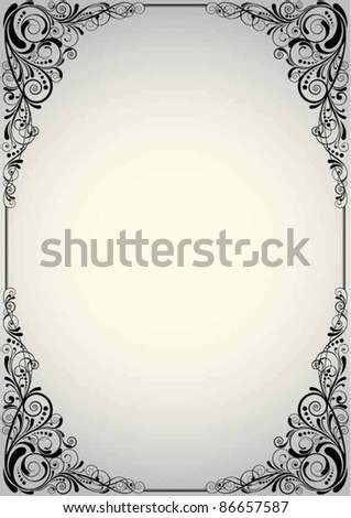 Grey angle background.Floral corner graphic swirl design, black colored with silver gradient. - stock vector