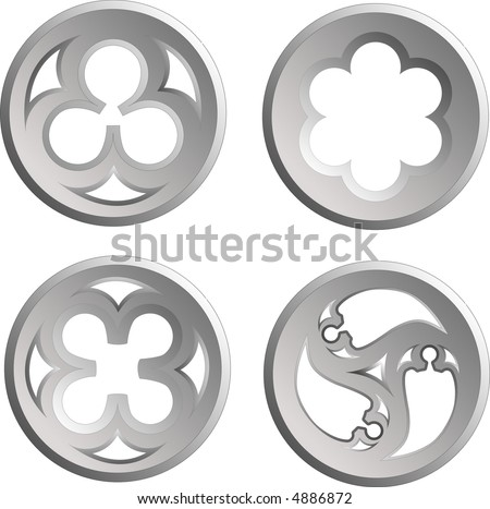 grey architectural stone details on the white background - stock vector