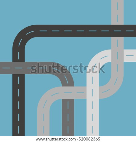 Grey Asphalt Roads or Streets Cutout Blue Background Pattern