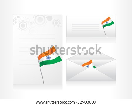 grey background with envelop, postcard, letterhead - stock vector