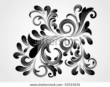 grey background with isolated black floral pattern tattoo