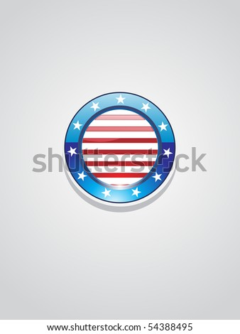 grey background with isolated glossy button in us flag - stock vector