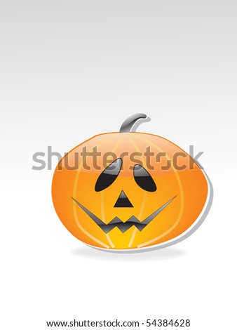 grey background with isolated glossy halloween pumpmkin