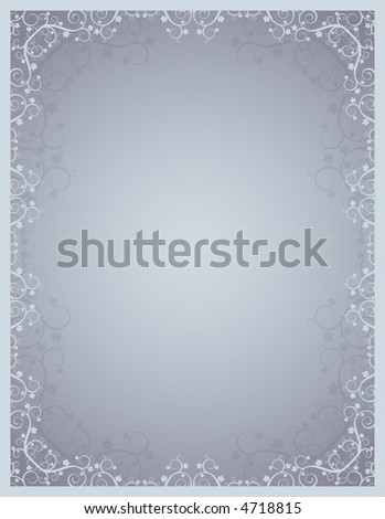 grey background  with lovely squiggles with leaves - stock vector