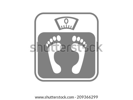 Grey bathroom scale on white background