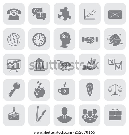 Grey business (finance) vector icon set