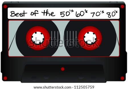 Grey Cassette Tape with Red Reels and See Through Window and Best of 50's 60's 70's 80's text - stock vector