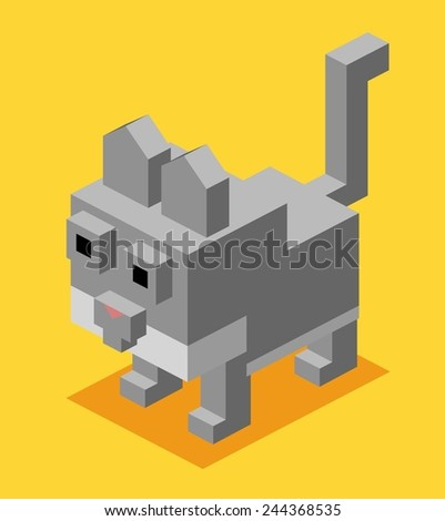 grey cat. 3d flat isometric vector - stock vector