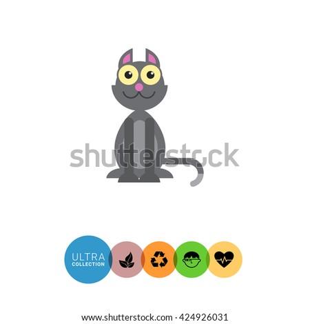 Grey cat icon - stock vector