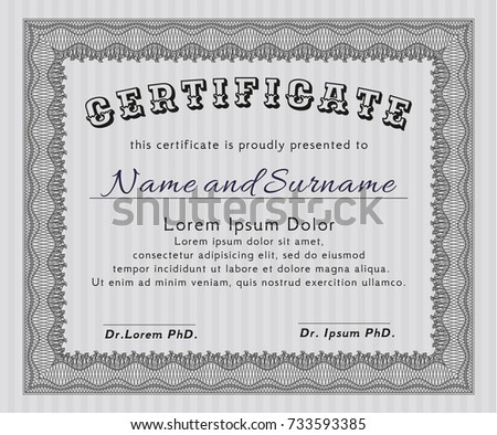 Isolated certificate text certificate achievement written stock grey certificate diploma or award template superior design detailed with complex linear background yadclub Gallery