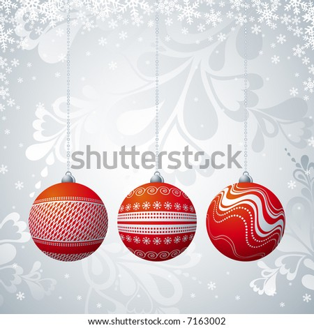 grey  christmas card with three ball, vector illustration
