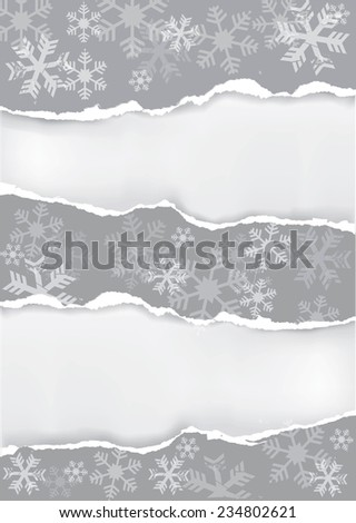 Grey christmas ripped paper background. Vector illustration of grey ripped paper christmas background with two places for your image or text.  - stock vector