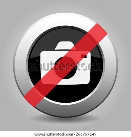 grey chrome button - with no camera - stock vector